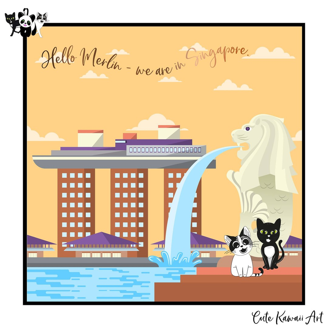 Hello #Merlin. We are in #Singapore.   by Cute Kawaii Art