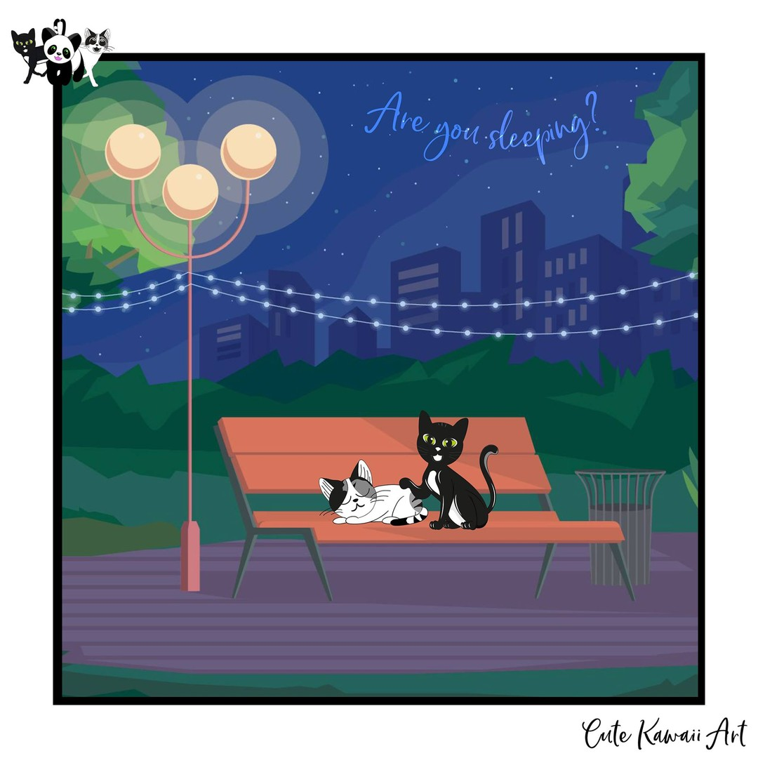 Are you sleeping? Happy #Caturday.   by Cute Kawaii Art