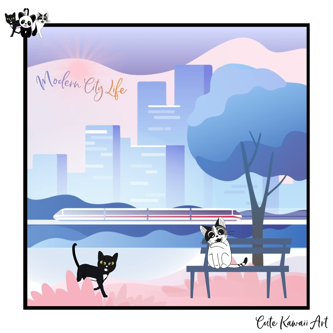 Modern City Life.   by Cute Kawaii Art