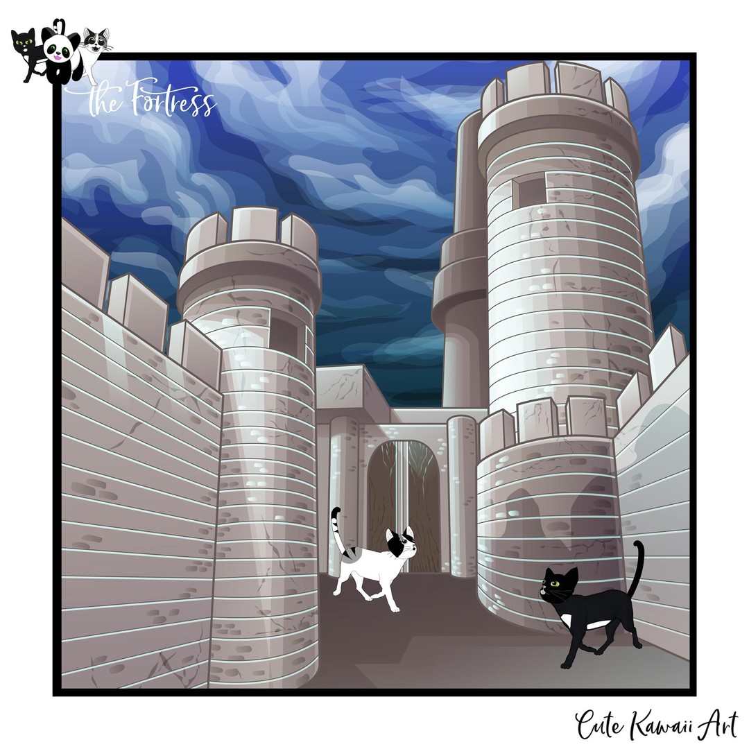 The Fortress. Happy #Caturday.   by Cute Kawaii Art