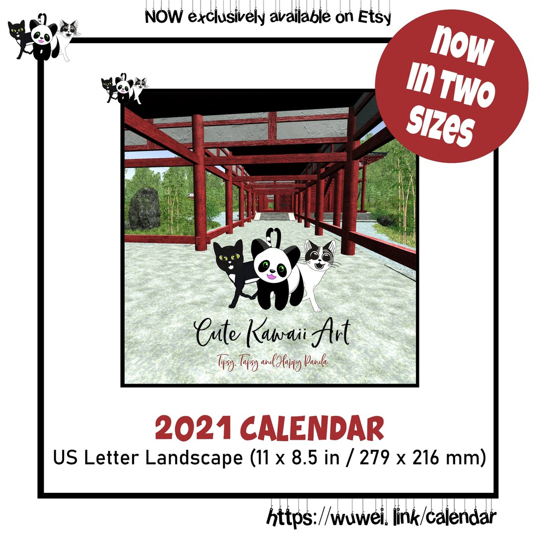 NEW: Now available in two sizes: Cute Kawaii Art Calendar 2021: feat. the mischievous cats Tipsy & Tapsy and Happy Panda.  by Cute Kawaii Art