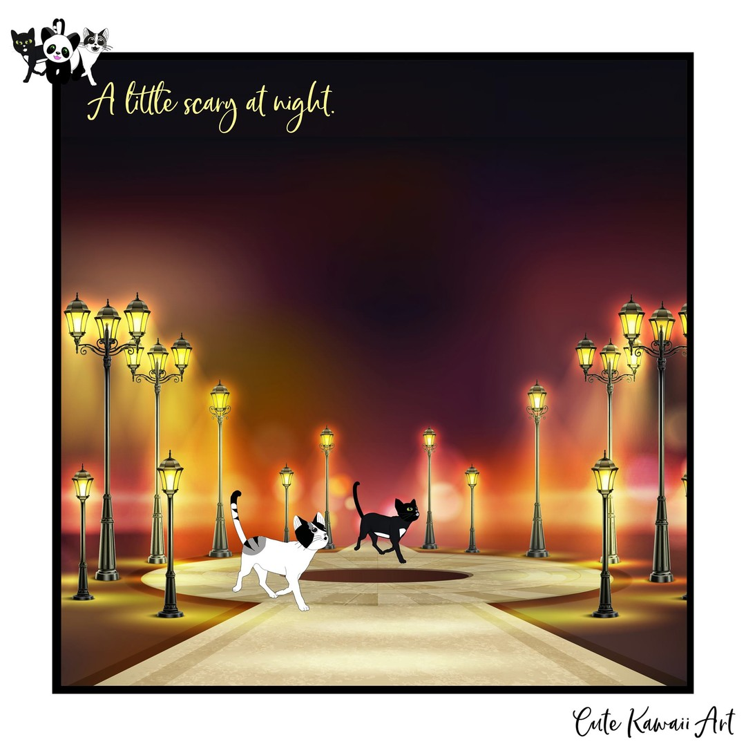 A little scary at night ...   by Cute Kawaii Art