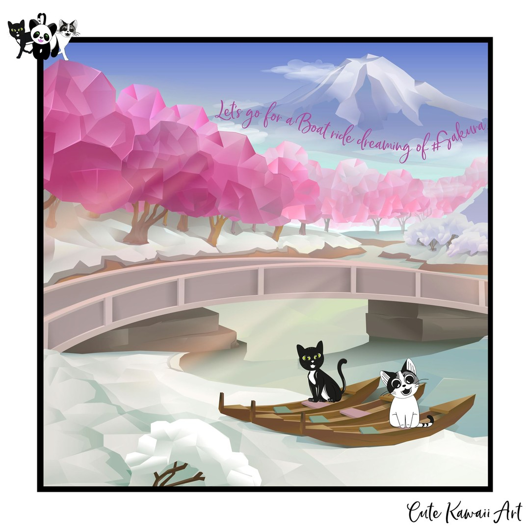 Let's go for a boat ride dreaming of #Sakura.   by Cute Kawaii Art