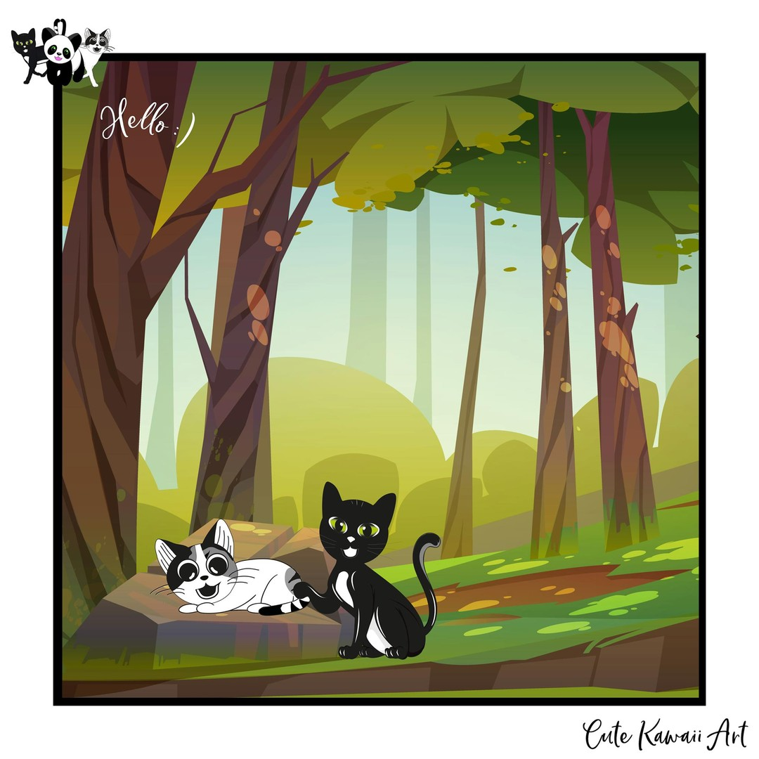 Hello :) from the forest.   by Cute Kawaii Art