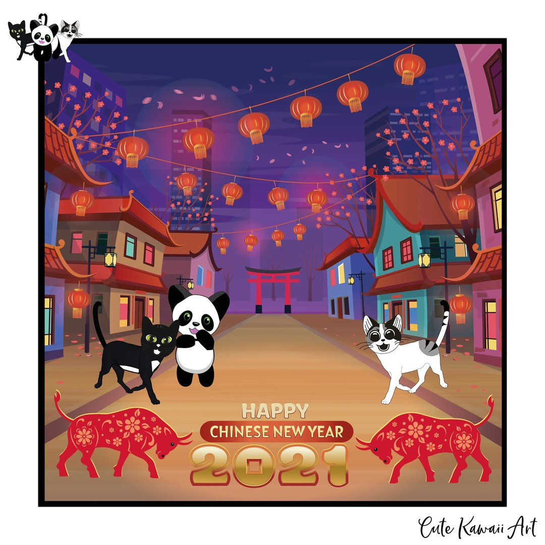 Happy Chinese New Year 2021. The Year of the Ox. #HappyChineseNewYear #ChineseNewYear #YearoftheOx #LunarNewYear   by Cute Kawaii Art