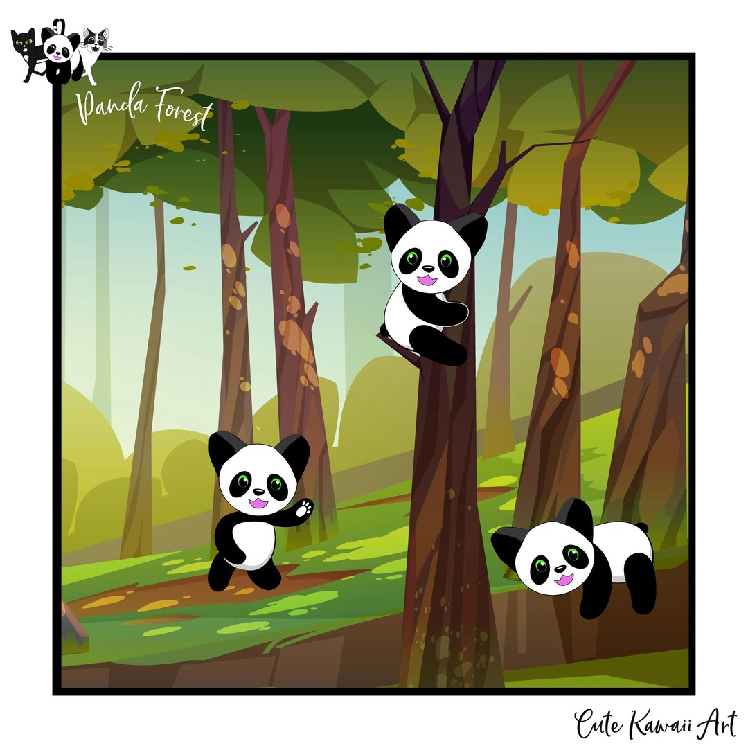 Panda Forest - hanging out with my friends.  by Cute Kawaii Art