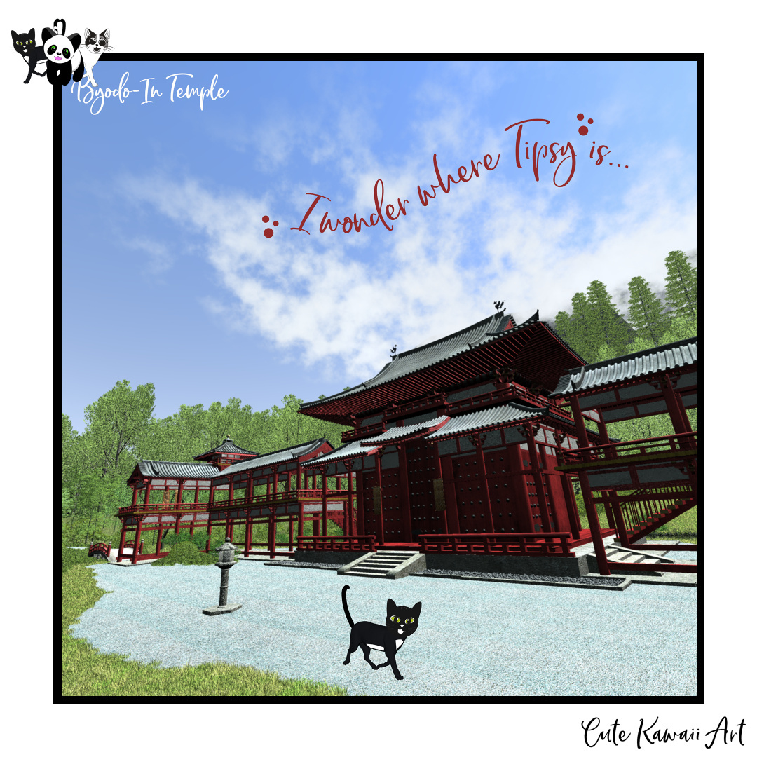 I wonder where Tipsy is... At Byodo-In Temple on Oahu, Hawaii.   by Cute Kawaii Art
