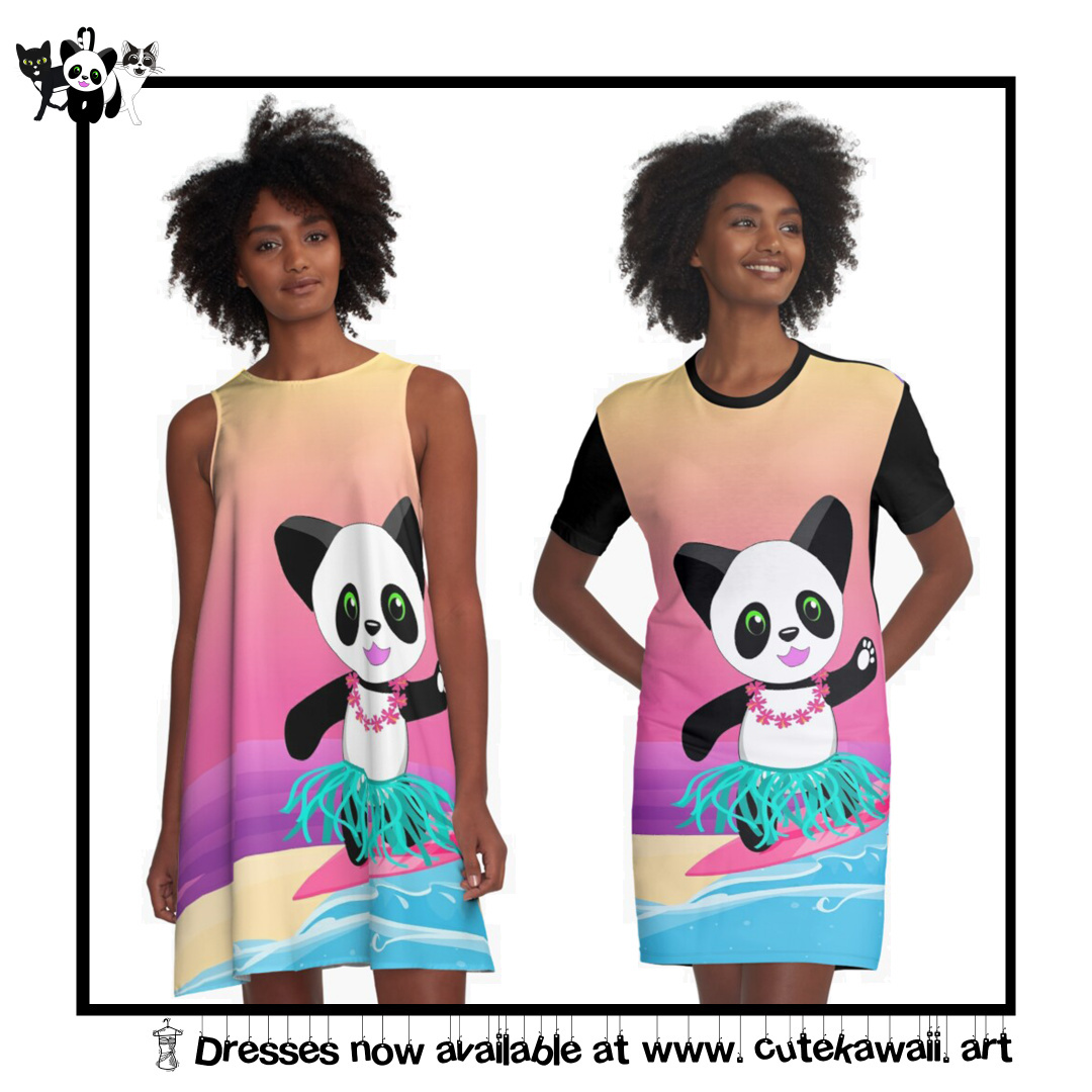 Happy Panda Dresses now available by Cute Kawaii Art