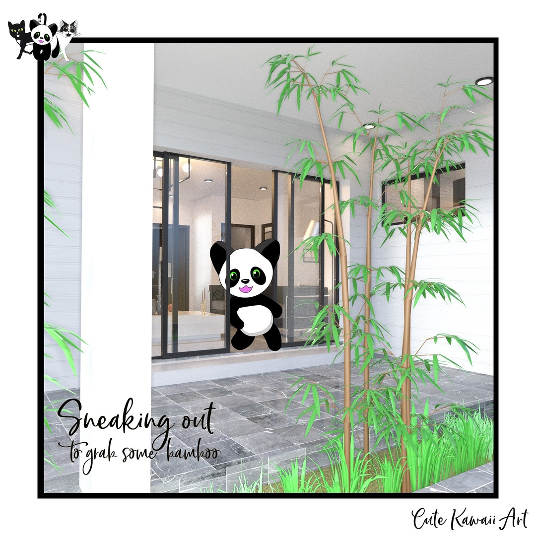 Sneaking out to get some #Bamboo. .  by Cute Kawaii Art