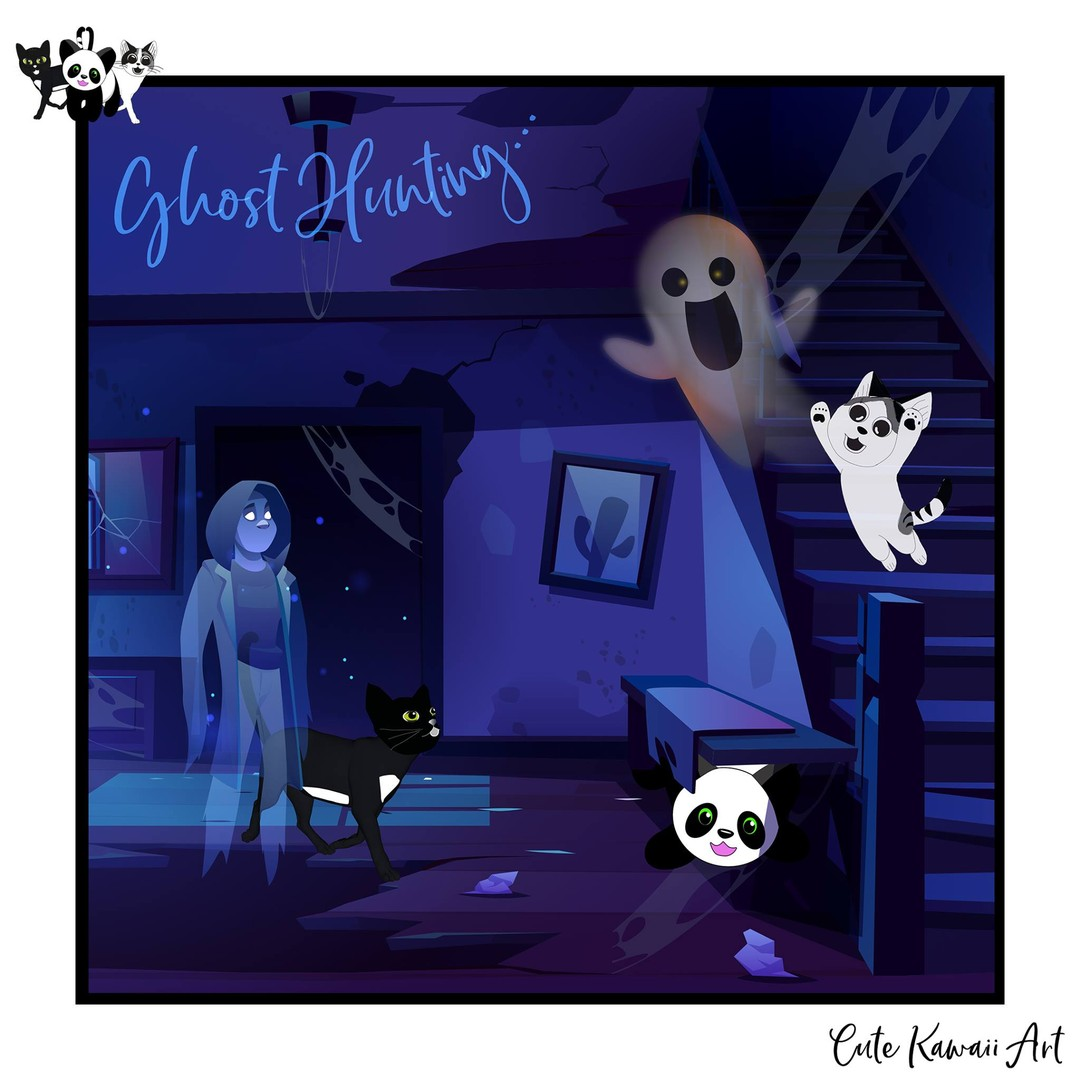 Happy Halloween 🎃 - Ghost Hunting 👻   by Cute Kawaii Art