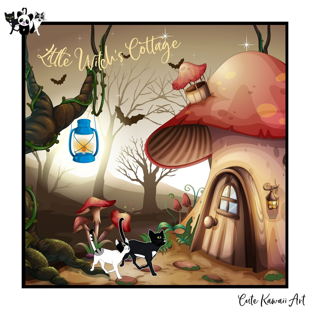 Little Witches Cottage. Have a happy #Caturday    by Cute Kawaii Art